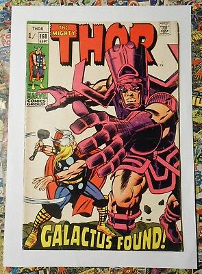 Thor #168 - Sept 1969 - Galactus Appearance! - Fn (6.0) Pence Copy!