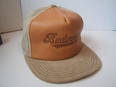 Vintage Budweiser Beer Spell Out Leather Hat Brown Snapback Trucker Cap Made USA