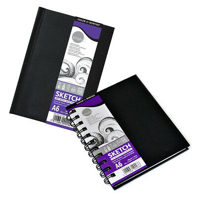Daler Rowney Simply Pocket Travel Hard Back Sketch Book A6 Spiral or Case Bound