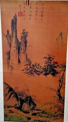 62x24 Large Vintage Chinese Wall Hanging Scroll Silk Painting Asian Art Oriental