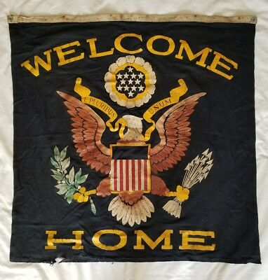 Original WWII Era Welcome Home Military Blue Wall Banner Flag - Son In Service