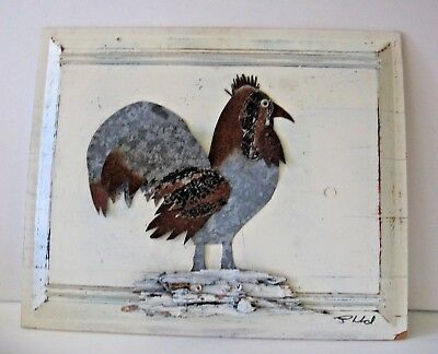 Antique Framed Tin Roofing  Architectural Salvage Rooster Hen Signed By Artist
