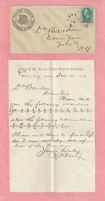 1872 Telegram from the Office of the United States Express Company