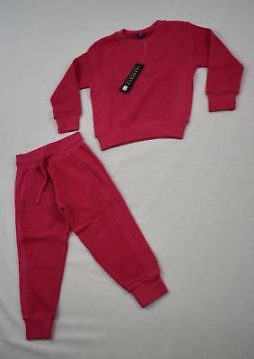 Girls Pink 2 Piece Waffle Tracksuit Lounge Suit 2/3 3/4 5/6 Years NEW