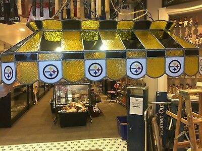 Nfl Pittsburgh Steelers Stained Glass Pool Table Billiards Light Lamp Made  Usa