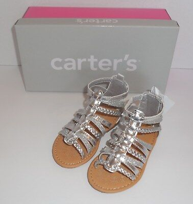 351a4325bb1c1 CARTER'S SMILE SILVER Gladiator Sandals Shoes Baby / Toddler Girl ...