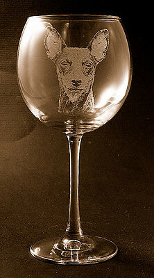 New! Etched Miniature Pinscher on Elegant Red Wine Glass - Set of 2