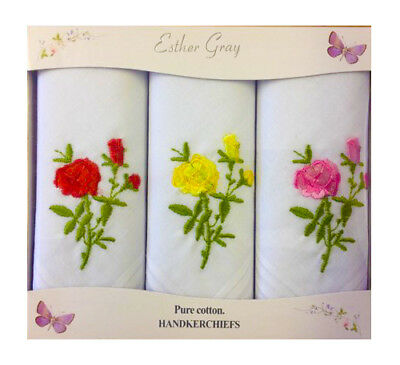 Esther Gray *3 Pack Gift Boxed* 100% Cotton Embroidered Floral Handkerchiefs
