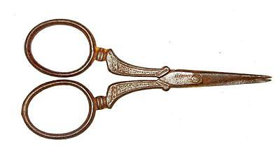 Vintage Old Iron Handcrafted Engraved Made In Germany Small Scissors Rich Patina