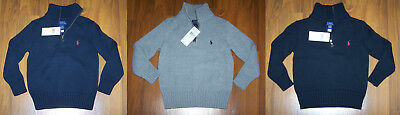 Polo Ralph Lauren Toddler Boys 1/4 ZIP SWEATER Black Gray, Blue Size 4, 5, 6 New