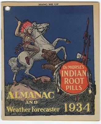 Dr. Morses Indian Root Pills ALMANAC AND WEATHER FORECASTER 1934 Native American