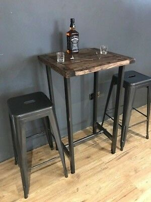 Cafe/Bistro/Bar/Poser Table and Stool Set. Industrial Steel /Reclaimed Wood