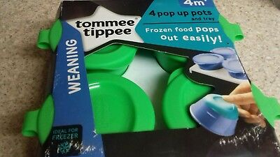 Tommee Tippee 4 Pop Up Pots and Tray Weaning(green)