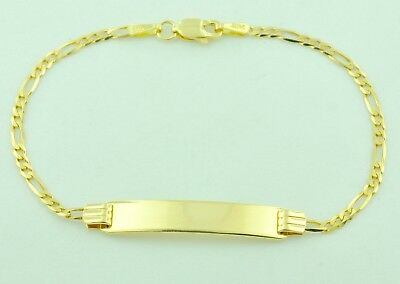 14k Solid Yellow Gold Figaro Link Kids Baby I D Bracelet 6 Inches 2 50 Grams