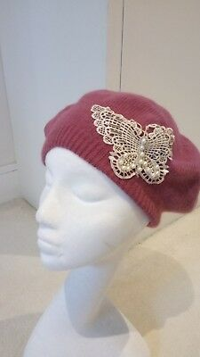 womens Butterfly pink hat and gloves