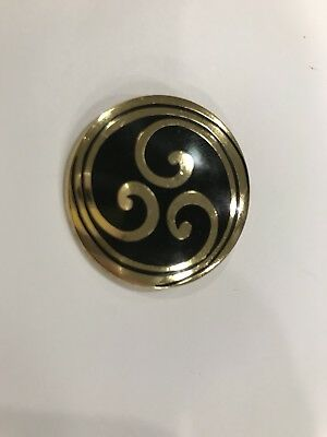 Celtic Sea Gems Brooch/Pin gold black swirl