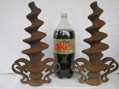 2 Antique Cast Iron 14 1/2 Inch Fence Post/gate Finial Toppers~Spiral~Repurpose