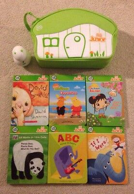 Leap Frog Tag Junior 6 books, Zippered Case & Reader Pen FULLY TESTED WORKS EUC