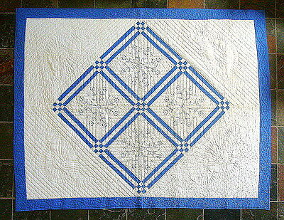 Antique Blue White Embroidered Quilt All Fine Hand Stitching Never Used!  66X82""