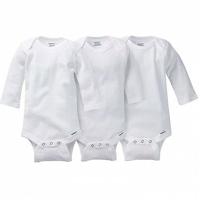 Gerber Unisex White Onesies 3 Pack NEW Long Sleeve Bodysuit Sizes 12 & 18 Months