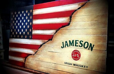 JAMESON IRISH WHISKEY Rustic Wooden  Flag, Wooden American Flag
