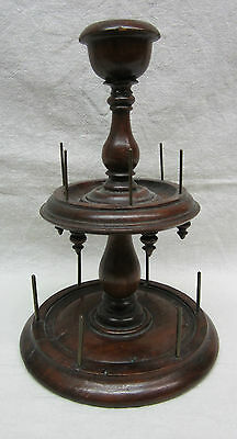 ANTIQUE WOODEN TIERED THREAD SPOOL HOLDER CADDY & PIN CUSHION Brass Spindles