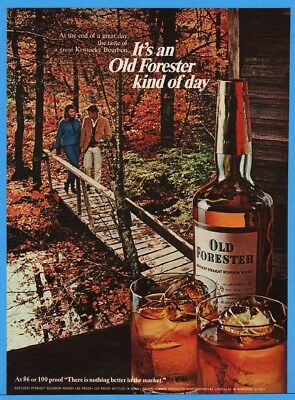 1967 Old Forester KY Straight Bourbon Whiskey Brown Forman Louisville Leaves Ad