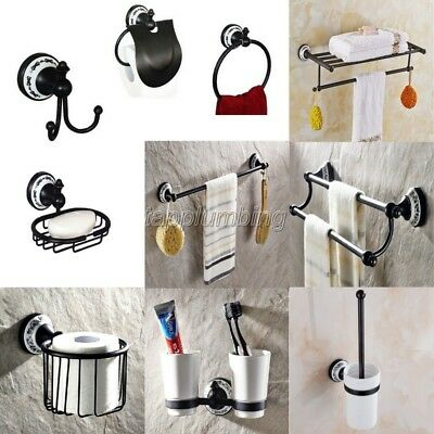 Wall Mounted Black Oil Rubbed Brass Porcelain Base Bathroom Accessory Sets