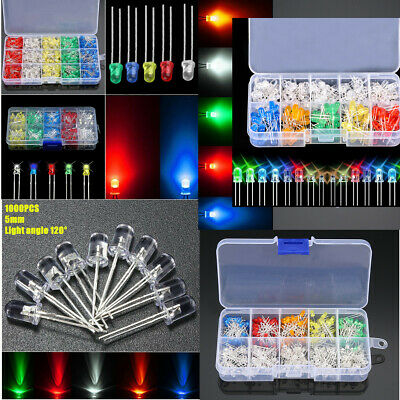 100-1000pcs 3/5mm 5 Colors LED Diodes Emitting Diode Light Assortment Kit 3V