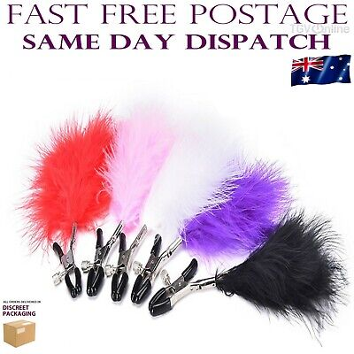 Adjustable Nipple Clamps Clips with Feathers Jewellery Bust Sex Toy Bondage S&M