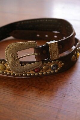 Vintage 1940s 1950s Jeweled Leather Cowboy Western Rockabilly studded Belt Rodeo