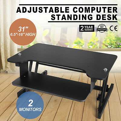 "Ergonomic Adjustable Height Stand Up Desk Black Office Home 31"" Wide UPDATED"