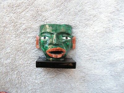 Mask Obsidian Stone Inlaid Of Malachite Stone New. From Mexico.