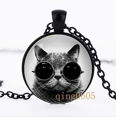 Cat pendant Cat Pet photo Glass Dome black Chain Pendant Necklace wholesale