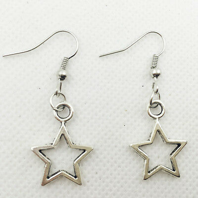 New 1 pair Free shipping Fashion Antique silver Jewelry  star earring !5