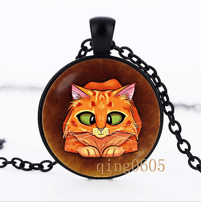 Funny cat Red cat photo Glass Dome black Chain Pendant Necklace wholesale