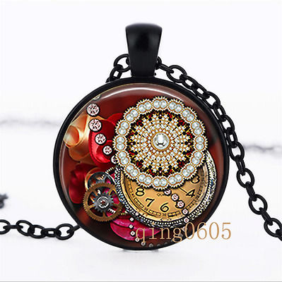 Steampunk Pendant photo Glass Dome black Chain Pendant Necklace wholesale
