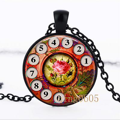 Phone Rotary Dial Rotary Dial Glass Dome black Chain Pendant Necklace wholesale