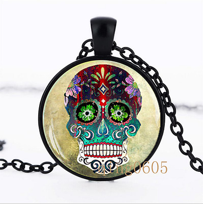 Steampunk Sugar Skull photo Glass Dome black Chain Pendant Necklace wholesale