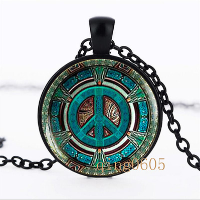 Hippie necklace photo Glass Dome black Chain Pendant Necklace wholesale