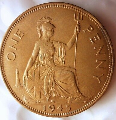 1945 GREAT BRITAIN PENNY - AU/UNC - Mostly RED - FREE SHIPPING - HV31