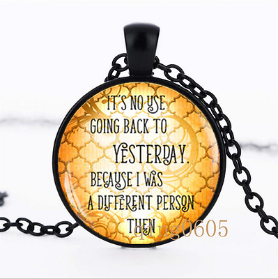 No Use Going Back to Yesterday Glass Dome black Chain Pendant Necklace wholesale