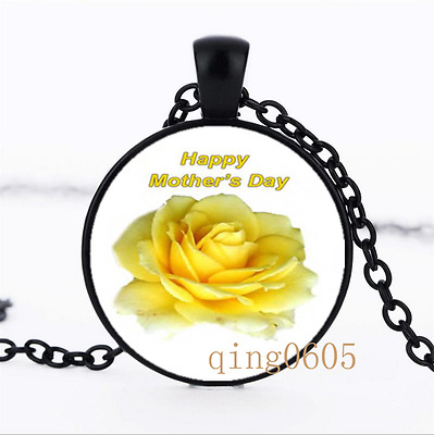 Happy Mother's Day Yellow Glass Dome black Chain Pendant Necklace wholesale