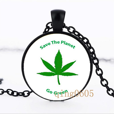Marijuanna Leaf  Glass Dome black Chain Pendant Necklace wholesale