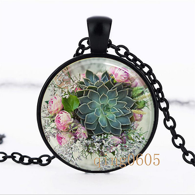 Succulent Necklace photo Glass Dome black Chain Pendant Necklace wholesale