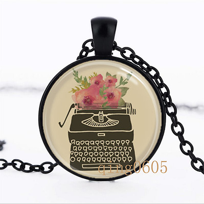 Typewriter Necklace photo Glass Dome black Chain Pendant Necklace wholesale