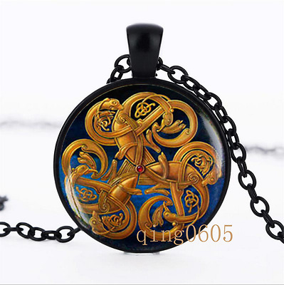 Celtic knot Irish photo Glass Dome black Chain Pendant Necklace wholesale