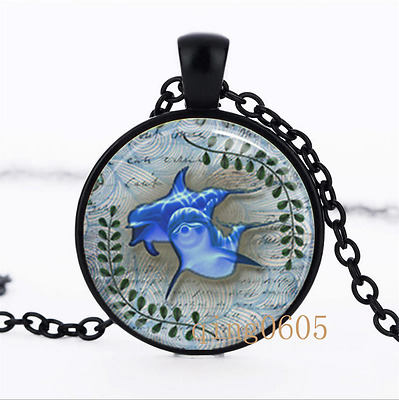 Dolphins Dolphins  photo Glass Dome black Chain Pendant Necklace wholesale