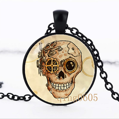 Steampunk skull Human skull Glass Dome black Chain Pendant Necklace wholesale