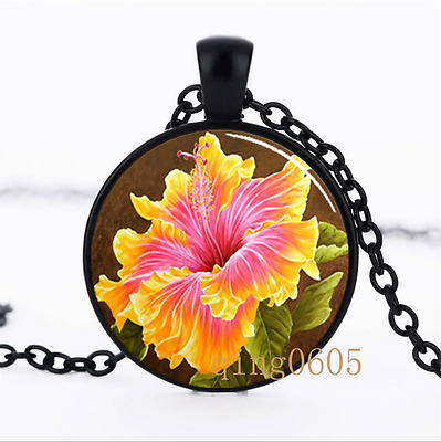 Pink and Yellow Hibiscus Glass Dome black Chain Pendant Necklace wholesale